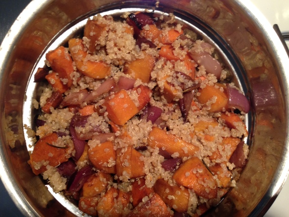 quinoa, roasted red onion, butternut squash, sweet potato