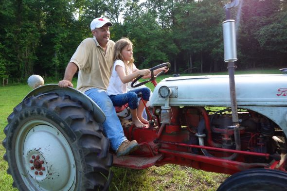 Girls on tractors