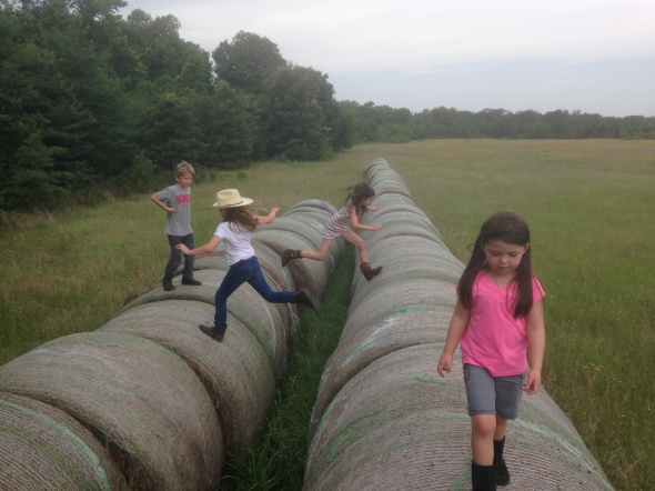 Jumping bales with cousins
